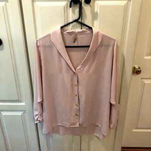 Final Touch Coral Full Button Blouse Large